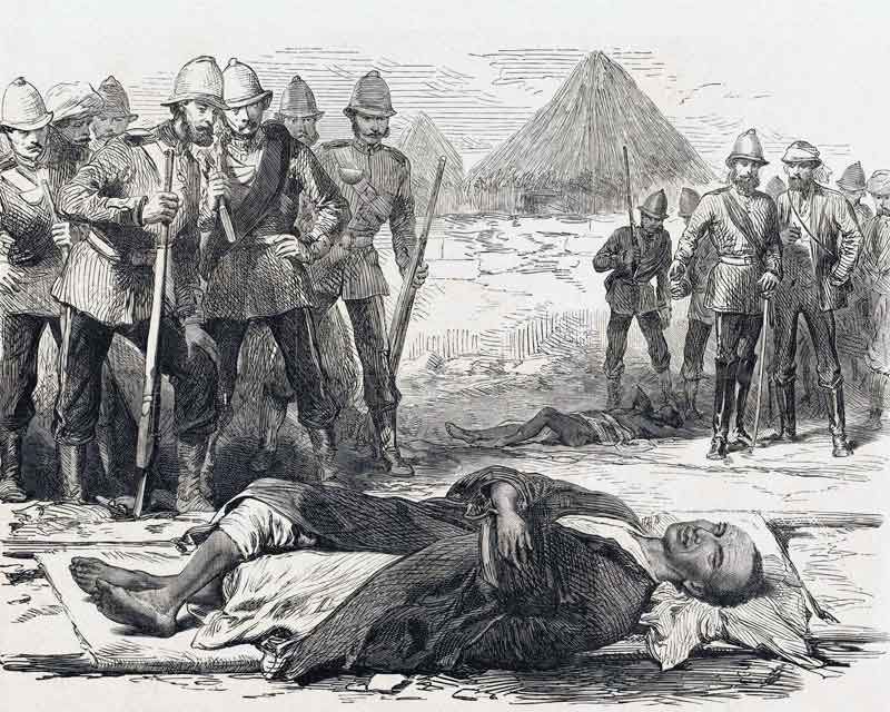 Body of Emperor Theodore III after the Battle of Magdala on 13th April 1868 in the Abyssinian War
