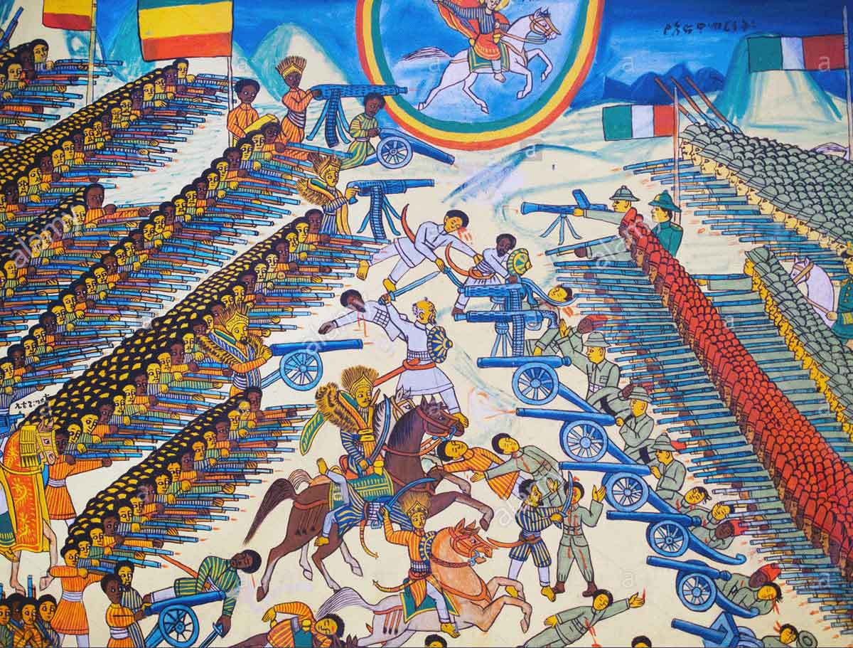Ethiopian illustration of the Battle of Adowa in 1896 when an invading Italian army was annihilated by the Abyssinians