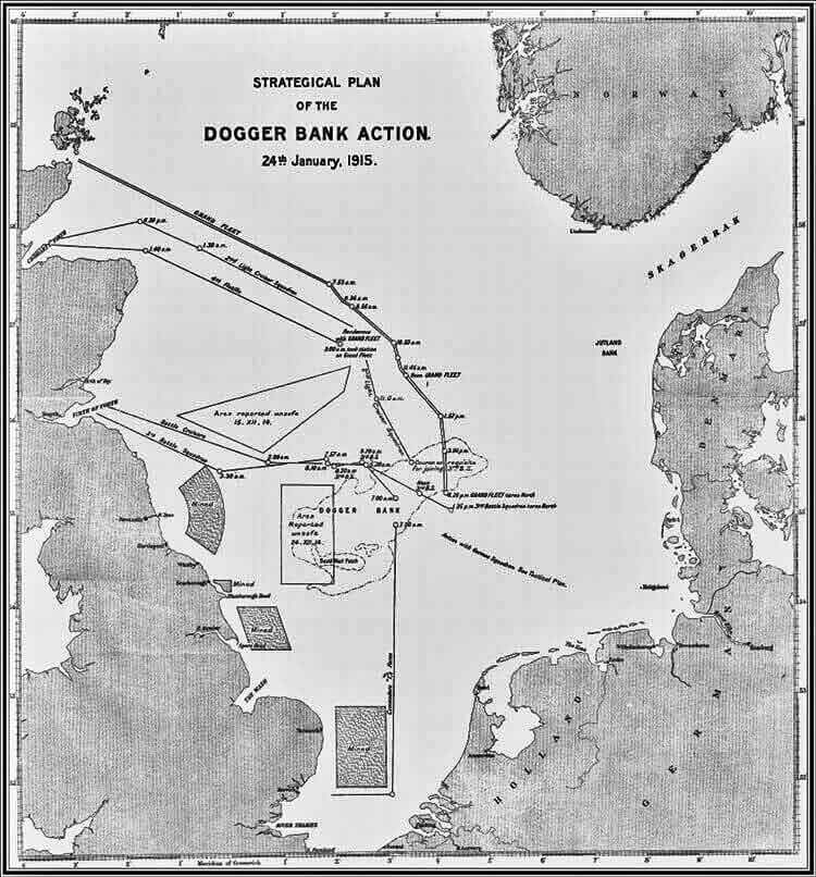 Map of the North Sea showing the battle north of the Dogger Bank on 24th January 1915 in the First World War