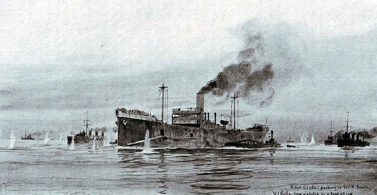 River Clyde pushing in for V Beach during the landings at Cape Helles on Gallipoli 25th April 1915: picture by Lionel Wyllie
