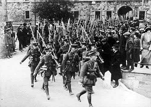 1st Royal Dublin Fusiliers leaving barracks in Dublin for Gallipoli as part of the 29th Division, landing on V Beach Cape Helles on 25th April 1915