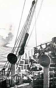 SS Clacton, Anzac landing ship, under shrapnel fire just after three Australians were killed