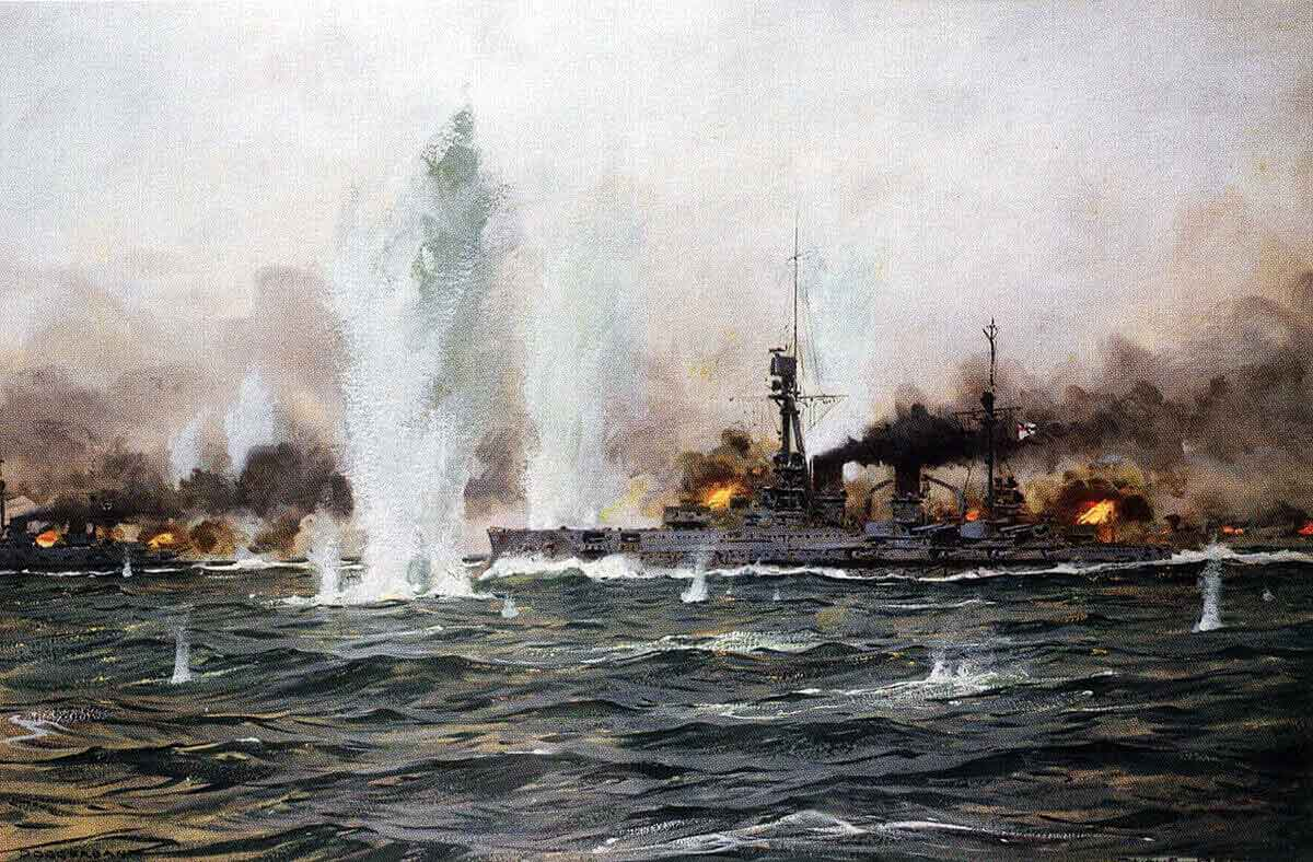 German armoured cruiser SMS Blucher in action at the Battle of Dogger Bank on 24th January 1915 in the First World War: picture by Claus Bergen