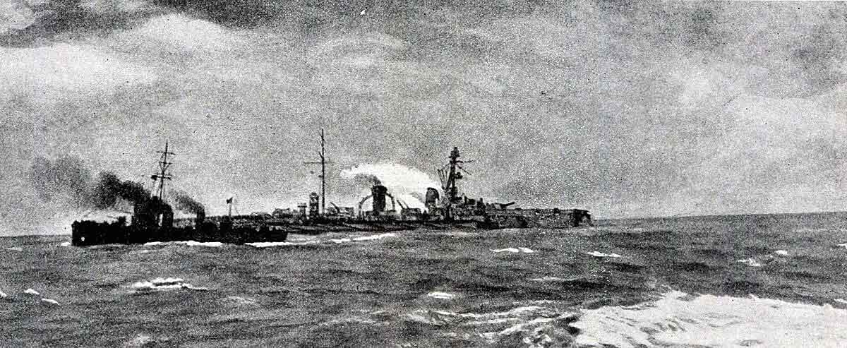 German armoured cruiser SMS Blucher badly damaged in the Battle of Dogger Bank on 24th January 1915 in the First World War: the British light cruiser HMS Arethusa is in the foreground preparing to rescue members of Blucher's crew