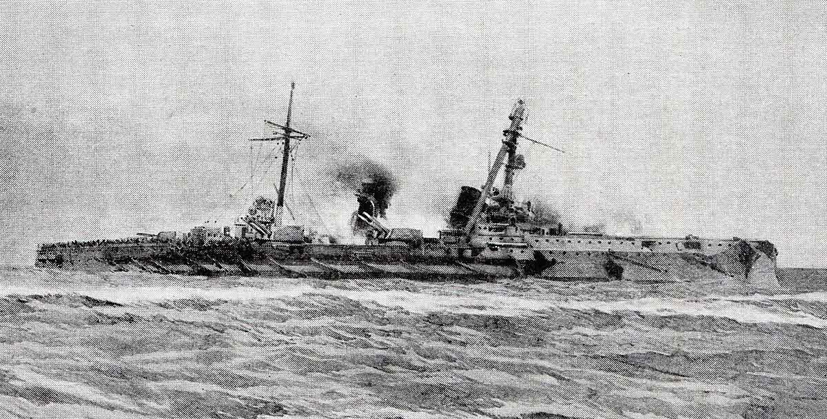 German armoured cruiser SMS Blucher sinking in the Battle of Dogger Bank on 24th January 1915 in the First World War