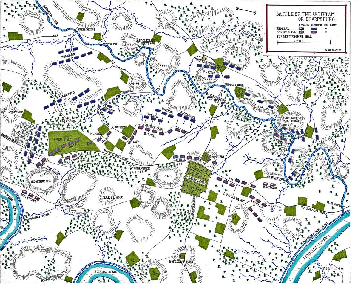 Map of the Battle of the Antietam fought on 17th September 1862 in the American Civil War: map by John Fawkes