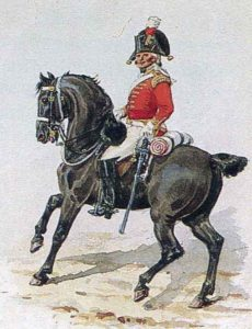 British Dragoon Guard officer: Battle of Usagre on 25th May 1811 in the Peninsular War: picture by Richard Simkin