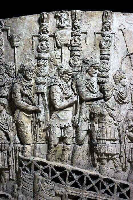 Roman legion standards on Trajan's Column: Battle of Medway on 1st June 43 AD in the Roman Invasion of Britain