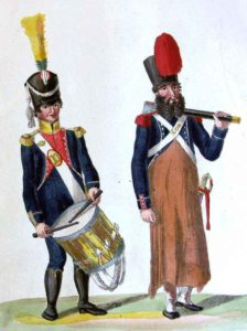 French Voltigeur Drummer and Light Infantry Sapper: Battle of Sabugal on 3rd April 1811 in the Peninsular War: picture by Suhl