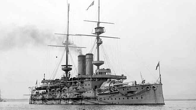 British pre-Dreadnought battleship HMS Goliath. Goliath supported the landing on Y Beach Gallipoli on 25th April 1915
