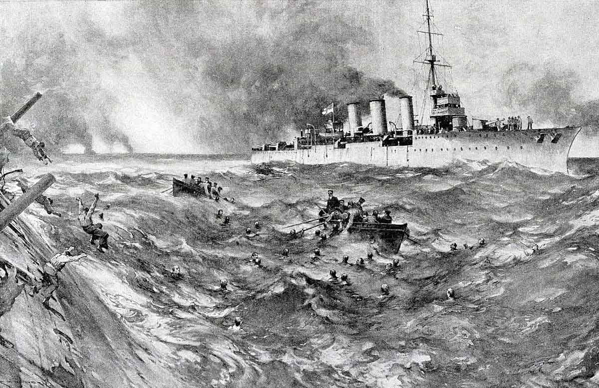 Boats from the British light cruiser HMS Arethusa rescuing surviving crew members of the sinking German armoured cruiser SMS Blucher in the Battle of Dogger Bank on 24th January 1915 in the First World War