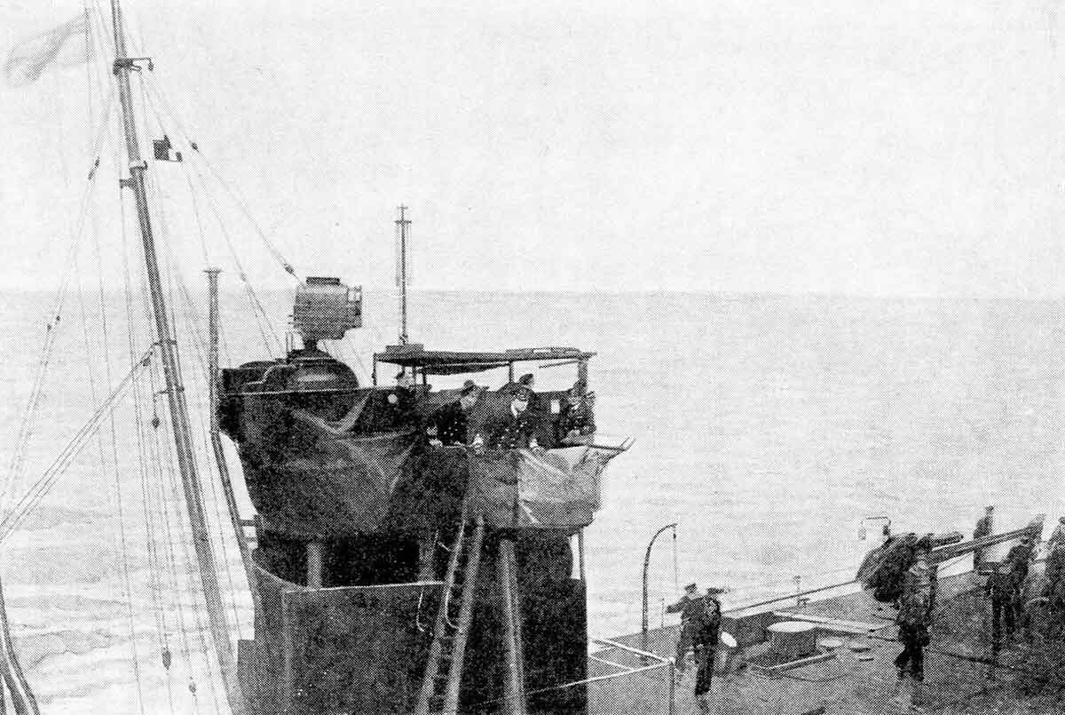 Admiral Beatty on the bridge of the British destroyer HMS Attack after transferring from his flag ship the damaged battle cruiser HMS Lion during the Dogger Bank Action on 24th January 1915 in the First World War