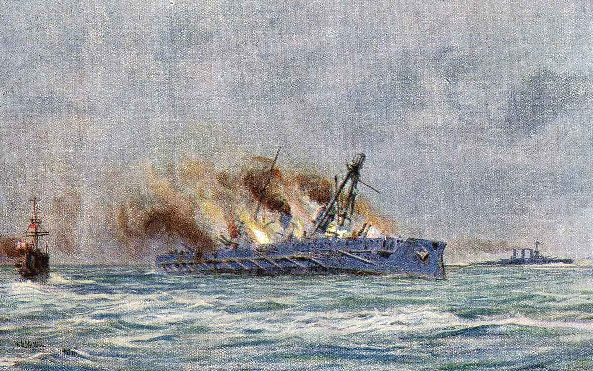 End of the German armoured cruiser SMS Blucher sinking in the Dogger Bank Action on 24th January 1915 in the First World War: picture by Lionel Wyllie