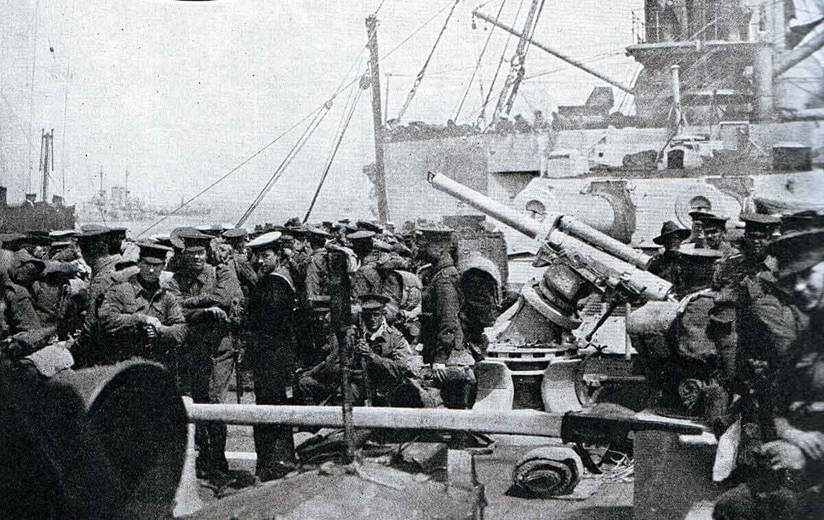 Australian troops on board a Royal Navy warship waiting to land at Anzac Cove on the Gallipoli Peninsular: Gallipoli Part III, ANZAC landing on 25th April 1915 in the First World War