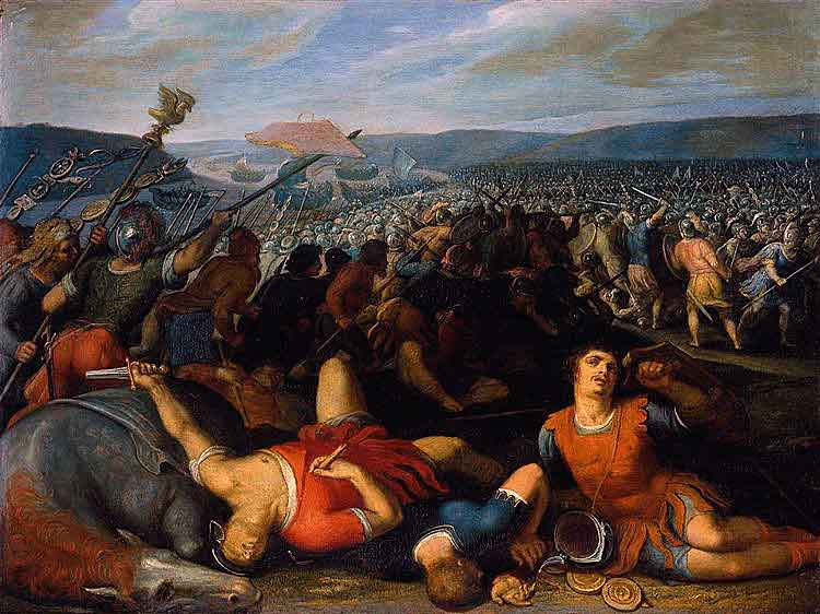 Batavians in battle against the Romans