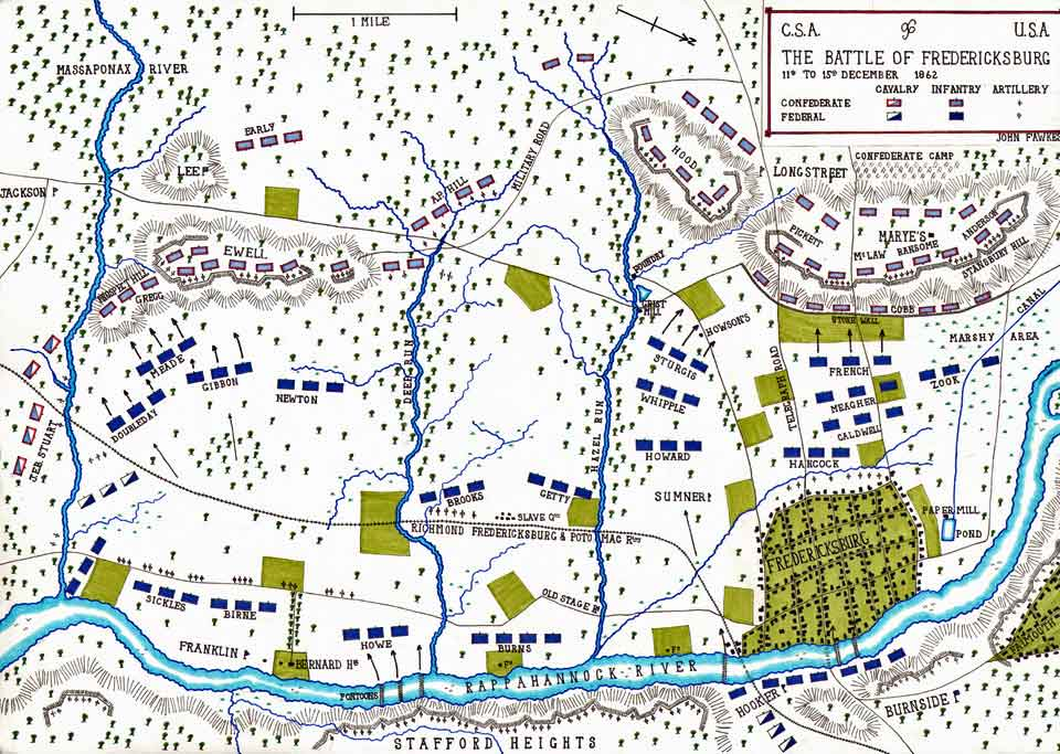 Map of the Battle of Fredericksburg fought on 11th and 15th December 1862 in the American Civil War: map by John Fawkes