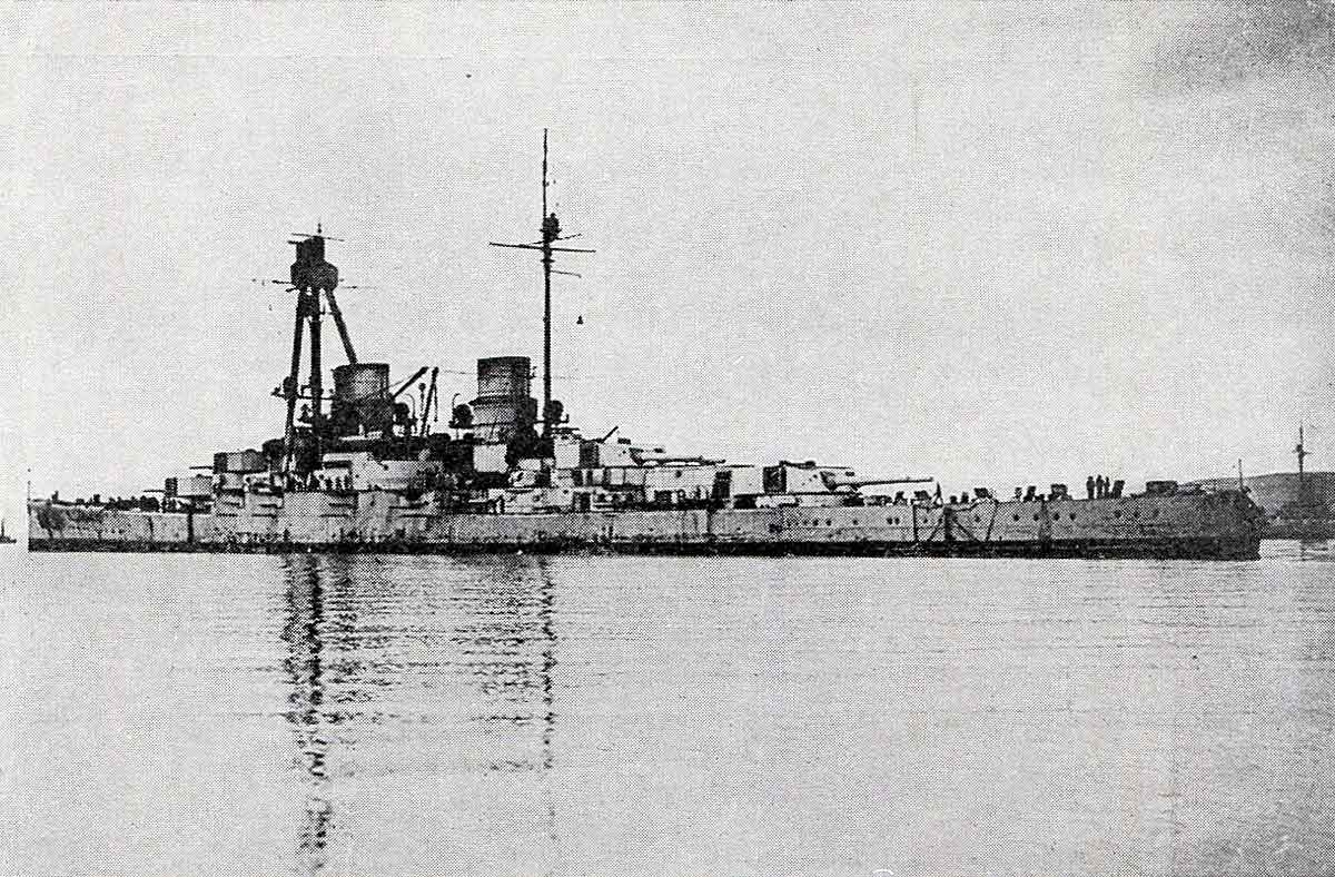 German battle cruiser SMS Derfflinger one of Admiral Hipper's ships at the Battle of Dogger Bank on 24th January 1915 in the First World War