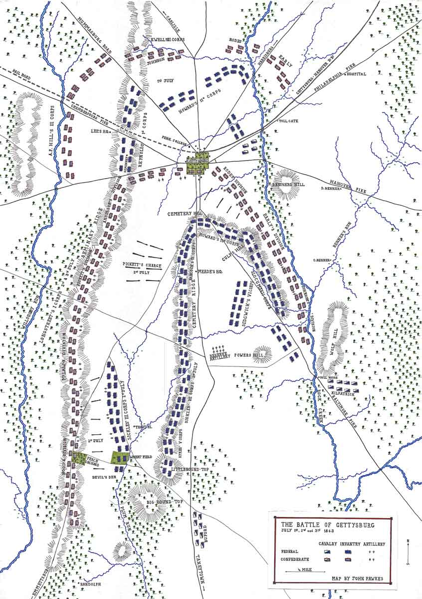 Map of the Battle of Gettysburg on 1st to 3rd July 1863 in the American Civil War: map by John Fawkes