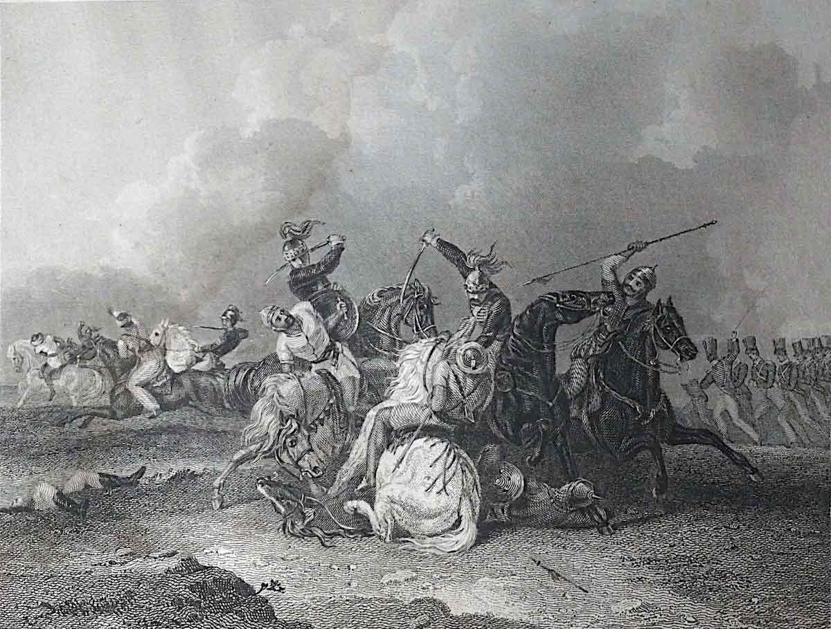 Colonel Maxwell's last charge on the Mahratta Cavalry at the Battle of Assaye on 23rd September 1803 during the Second Mahratta War in India: print by Cooper