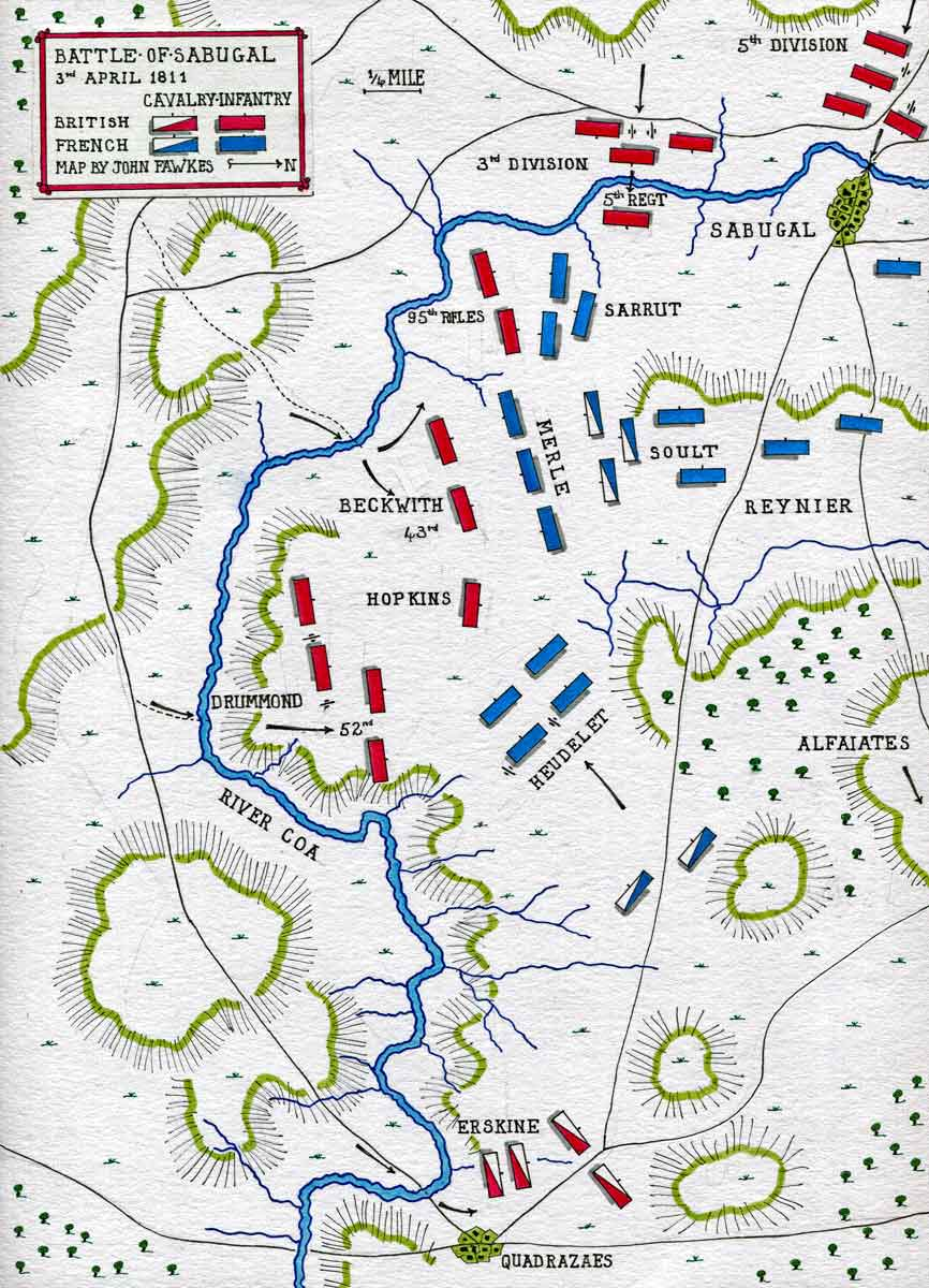 Map of the Battle of Sabugal on 3rd April 1811 in the Peninsular War: map by John Fawkes