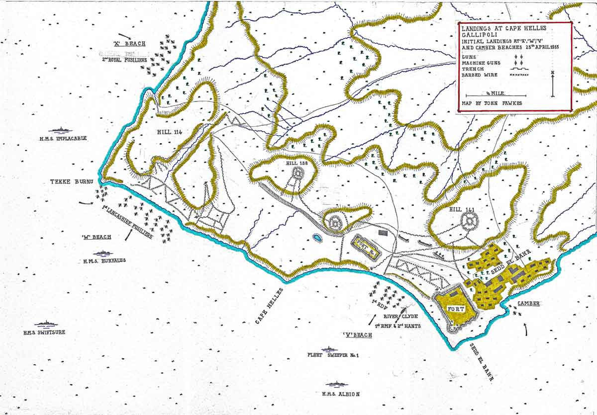 Map of the initial landings on 25th April 1915 at 'X', 'W', 'V' and Camber beaches, Cape Helles, Gallipoli, : map by John Fawkes