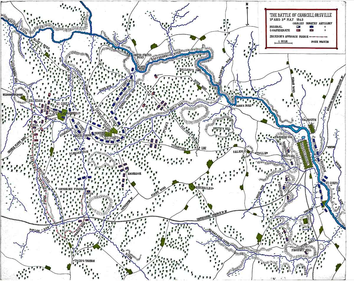 Map of the Battle of Chancellorsville on 2nd and 3rd May 1863 in the American Civil War: map by John Fawkes