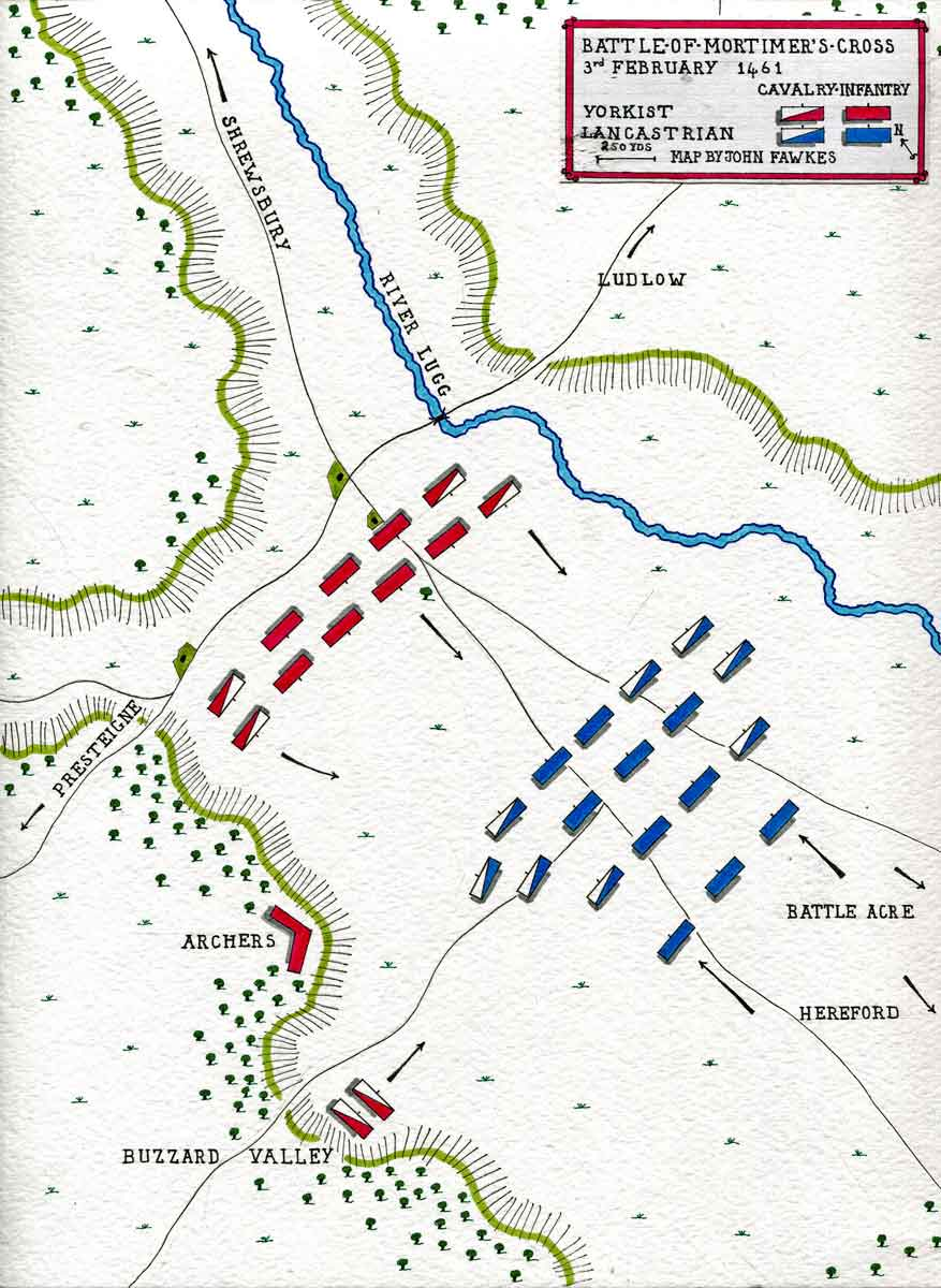 Map of the Battle of Mortimer's Cross on 3rd February 1461 in the Wars of the Roses: map by John Fawkes