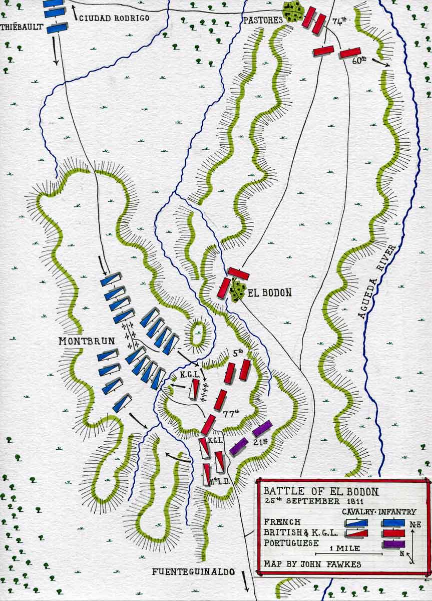 Map of the Battle of El Bodon on 25th September 1811 in the Peninsular War: map by John Fawkes