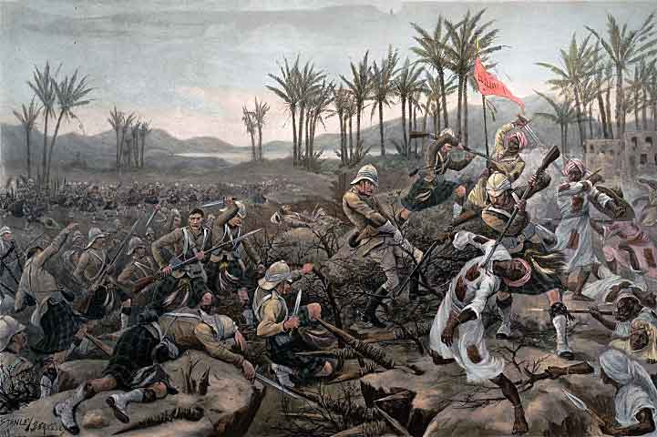 Cameron Highlanders storming the Zeriba at the Battle of Atbara on 8th April 1898 in the Sudanese War: print by Stanley Berkeley