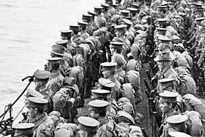 Australian troops on the decks of HMS Prince of Wales before the landing on Gallipoli 25th April 1915