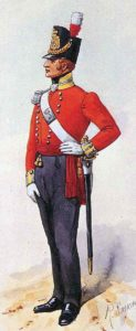 Officer of the 34th Regiment of Foot: Battle of Arroyo Molinos on 28th October 1811 in the Peninsular War: picture by Richard Simkin