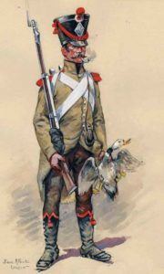 French Light Infantryman: Battle of Arroyo Molinos on 28th October 1811 in the Peninsular War: picture by PA Leroux