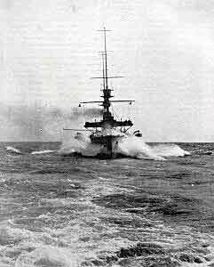 British battleship in the North Sea in 1914 in the First World War