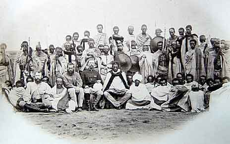 Emperor Theodore III of Abyssinia with his entourage: Battle of Magdala on 13th April 1868 in the Abyssinian War