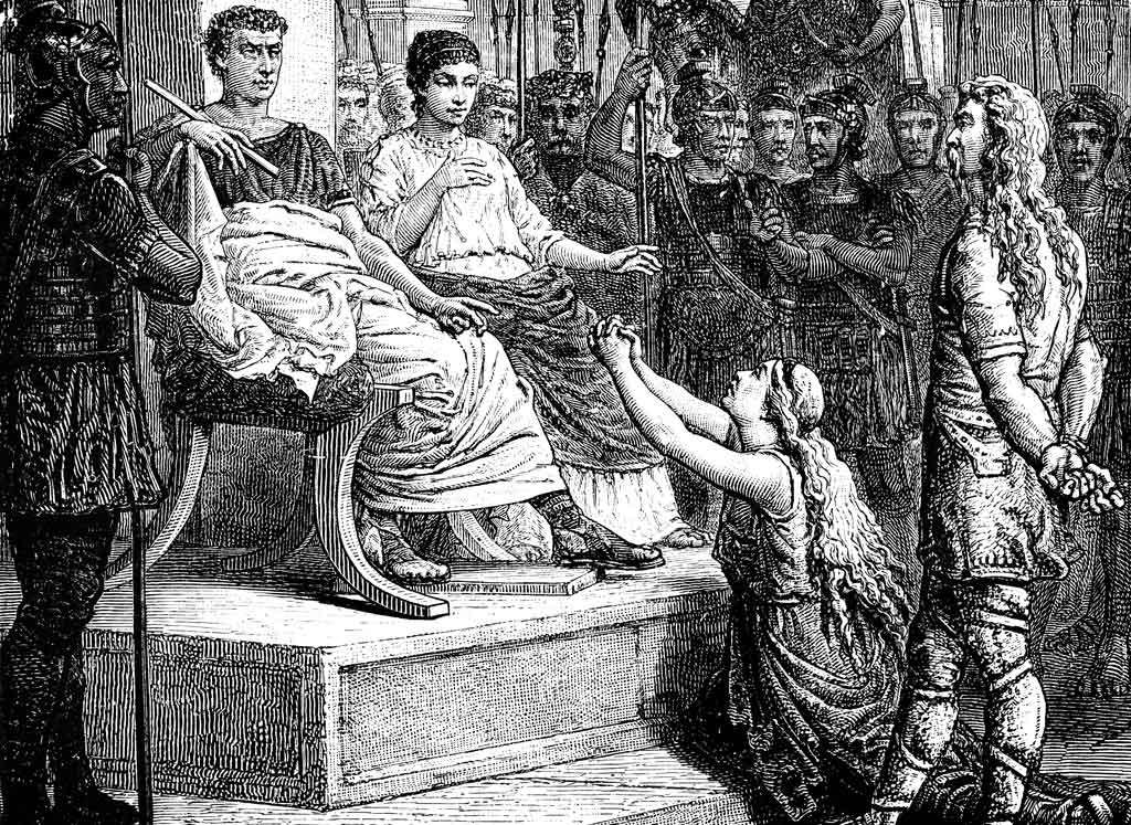 Caratacus appears before Claudius Caesar in Rome after the Battle of Medway on 1st June 43 AD in the Roman Invasion of Britain