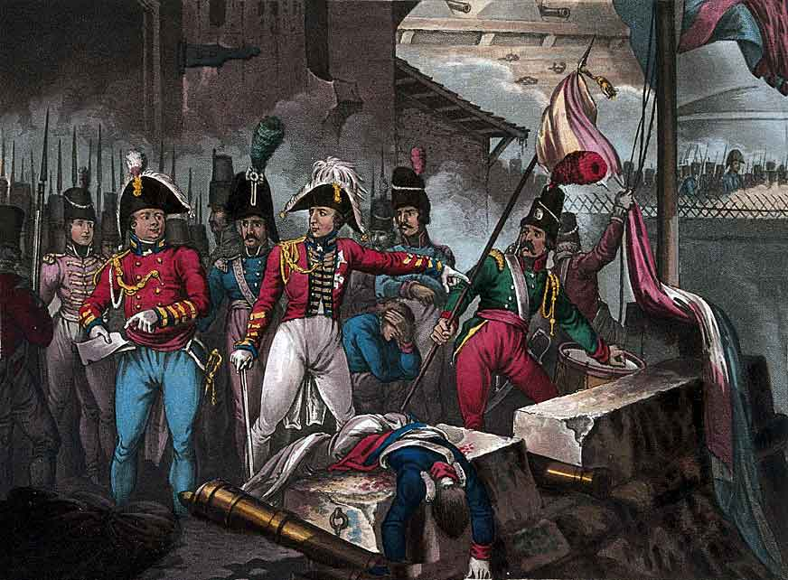 Wellington takes down the French flag after the Storming of Ciudad Rodrigo on 19th January 1812 in the Peninsular War