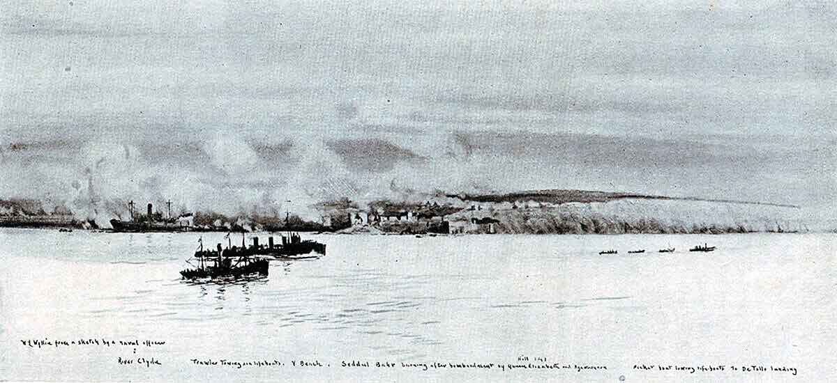 River Clyde, with Sedd el Bahr burning, on 25th April 1915 during the first landings on V Beach, Cape Helles: Gallipoli, 25th April 1915 in the First World War: picture by Lionel Wyllie