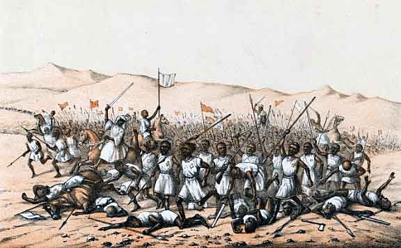 Dervish attack at the Battle of Abu Klea fought on 17th January 1885 in the Sudanese War