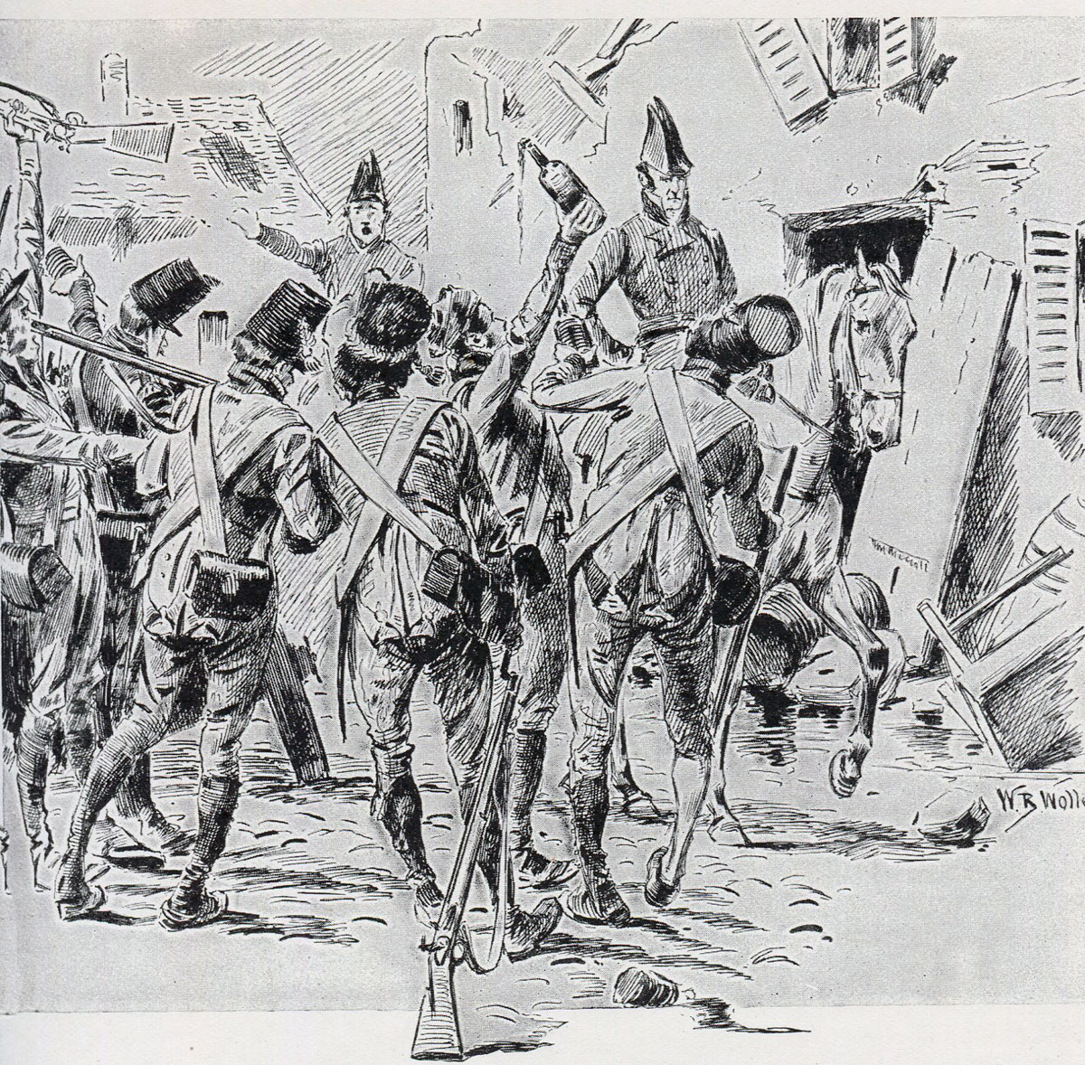 British troops looting after the Storming of Badajoz on 6th April 1812 in the Peninsular War: picture by William Barnes Wollen