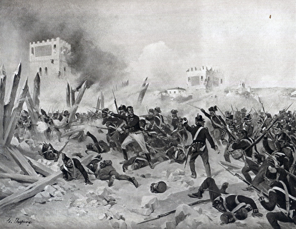 Storming of Badajoz on 6th April 1812 in the Peninsular War: picture by Henri Dupray