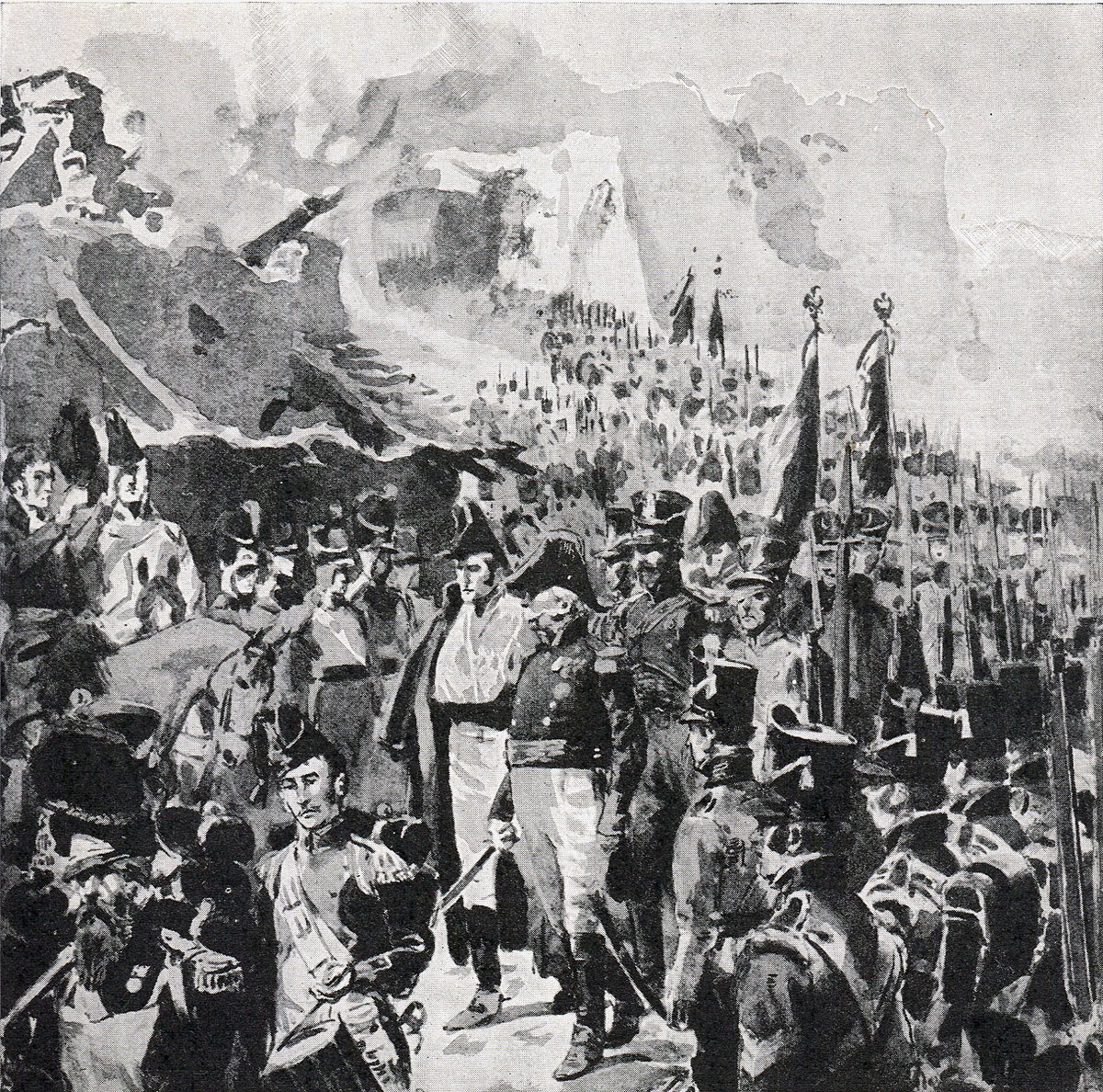 French garrison surrenders after the Storming of Badajoz on 6th April 1812 in the Peninsular War: picture by William Barnes Wollen