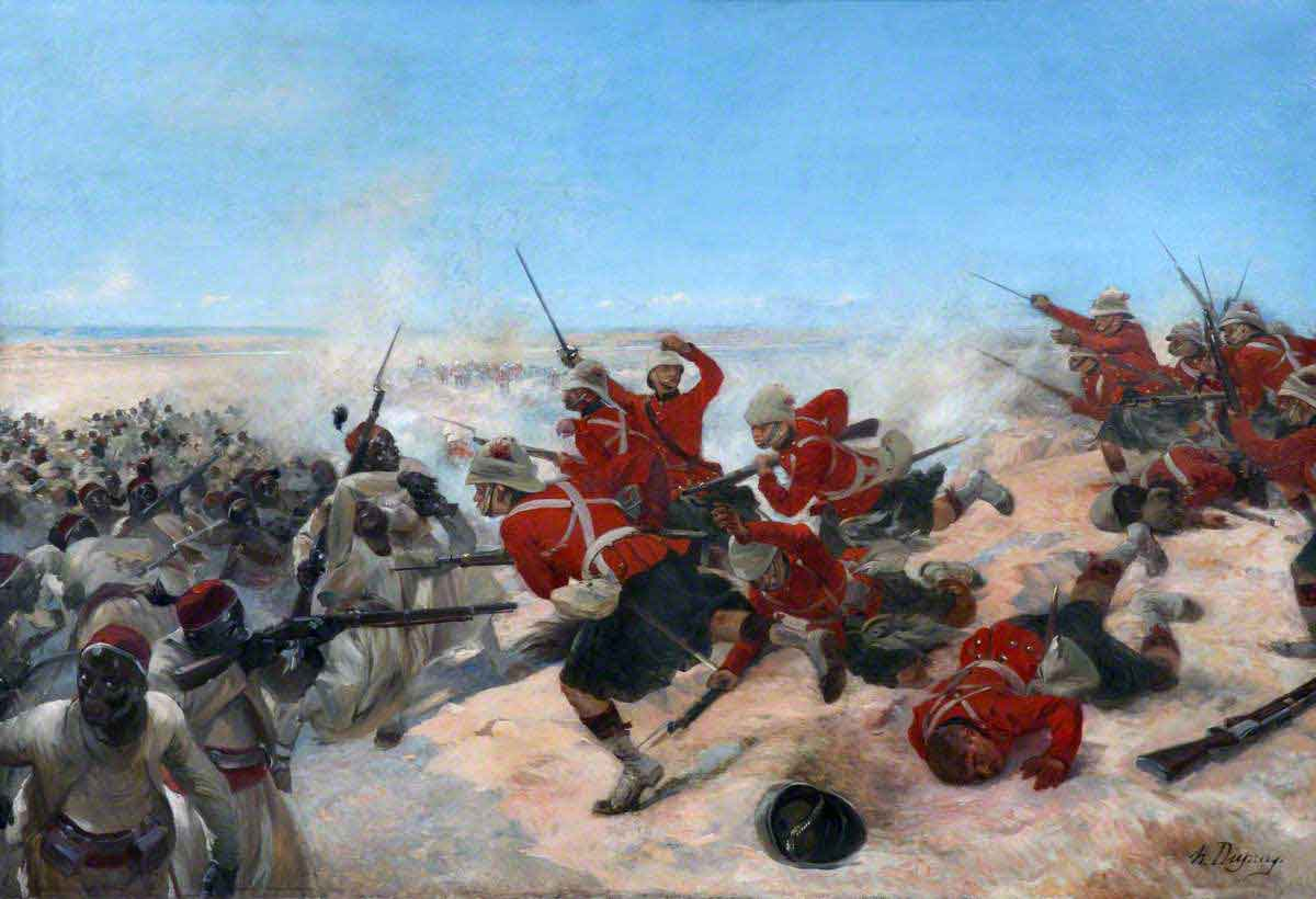 Black Watch storming the Eqyptian lines at the Battle of Tel-el-Kebir on 13th September 1882 in the Egyptian War: picture by Henri Dupray
