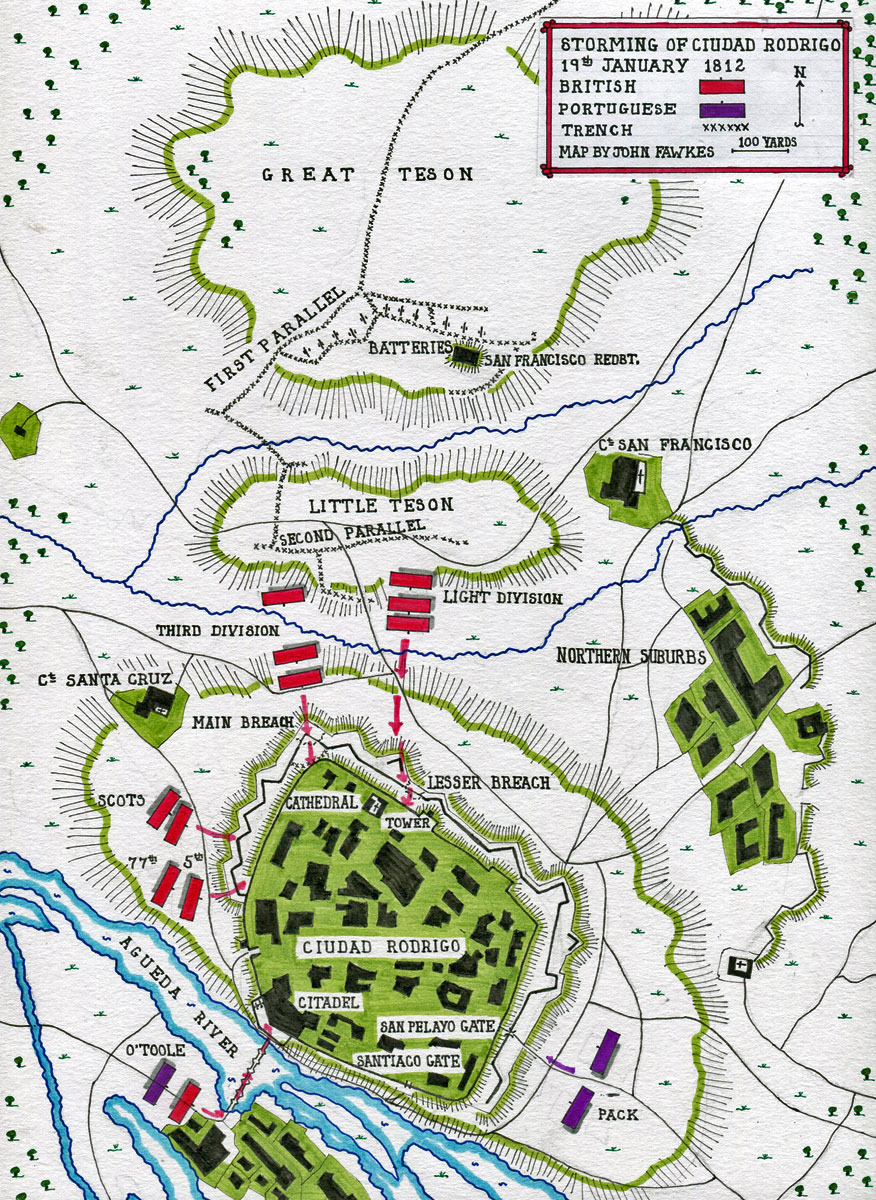Map of the Storming of Ciudad Rodrigo on 19th January 1812 in the Peninsular War: map by John Fawkes