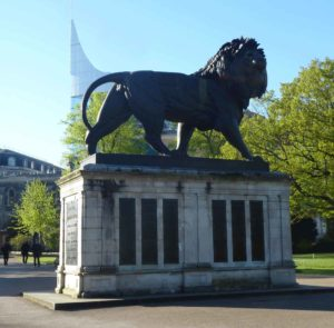Lion in Forbury Gardens, Reading, commemorating the dead of the 66th Regiment at the Battle of Maiwand on 26th July 1880 and in Southern Afghanistan in the Second Afghan War