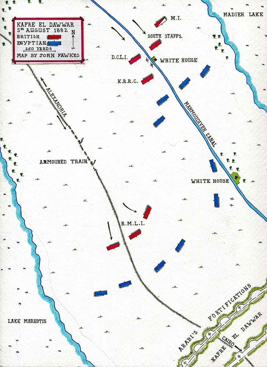 Map of the Kafre El Dawwar reconnaissance on 5th August 1882: map by John Fawkes