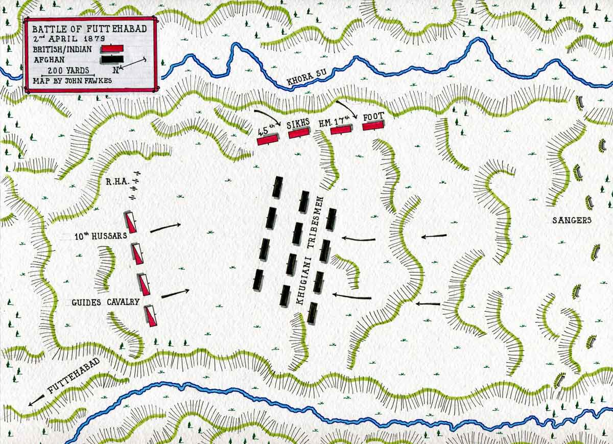 Map of the the Battle of Futtehabad on 2nd April 1879 in the Second Afghan War: map by John Fawkes