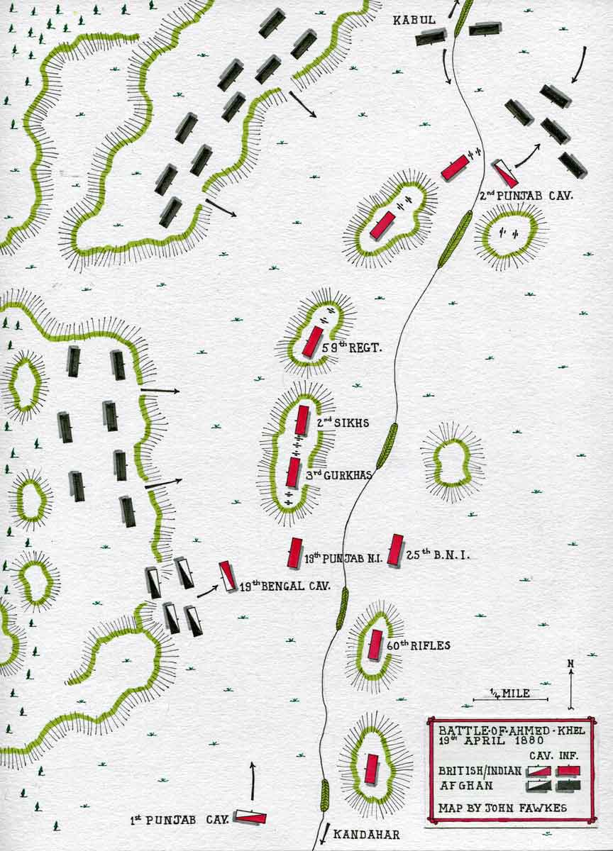 Map of the Battle of Ahmed Khel on 19th April 1880 in the Second Afghan War: map by John Fawkes