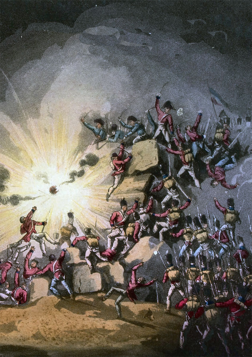 Detonation of the shells under the Light Division in the Storming of Badajoz on 6th April 1812 in the Peninsular War