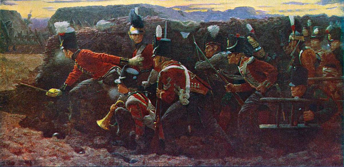 'Forlorn Hope' at the Storming of Badajoz on 6th April 1812 in the Peninsular War: picture by Vereker Hamilton