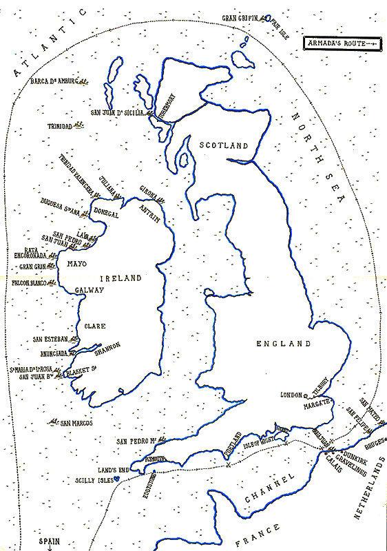 Route of the Spanish Armada in 1588, up the Channel into the North Sea, North About into the Atlantic and down the west coast of Ireland. The map shows the known wrecks of Armada ships. Of the 120 ships in the Armada half were lost many just disappearing. The map shows the sites of the engagements between the Armada and the English Fleet at Eddystone, Portland, Isle of Wight, Calais and Gravelines. Of the Armada's complement of 30,000 soldiers and sailors 20,000 were lost: map by John Fawkes